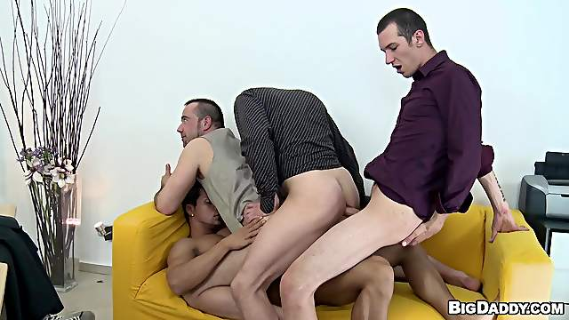 Four horny gays suck each other's dicks and drill each other's butts