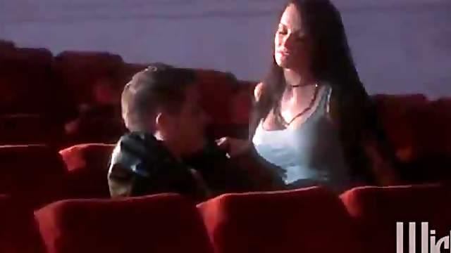 Brunette Goes to The Cinema For A Gangbang