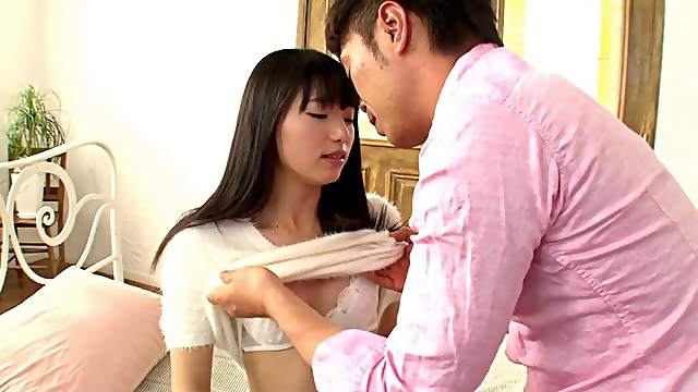 Out comes the vibrator to rock this Asian girl's hairy cunt