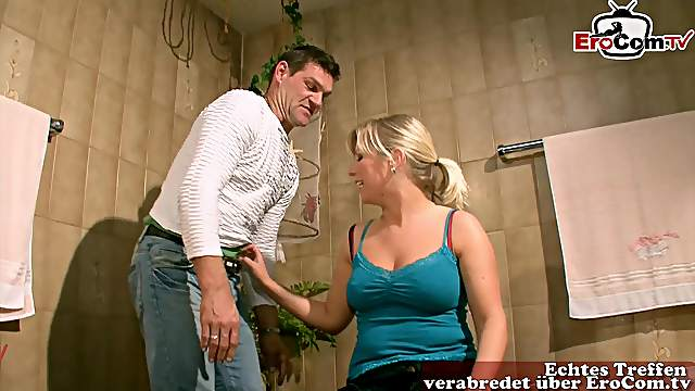 German blonde saggy tits housewife seduced