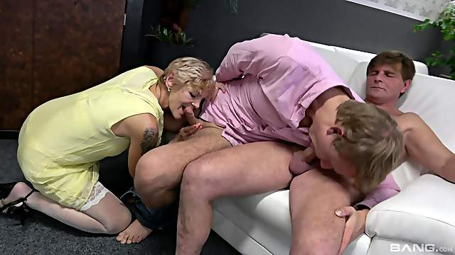 Two younger bisexual dudes fuck dirty mature pornstar Yvonne