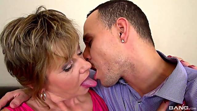 Dirty mature Monika Mature drops on her knees for a younger cock