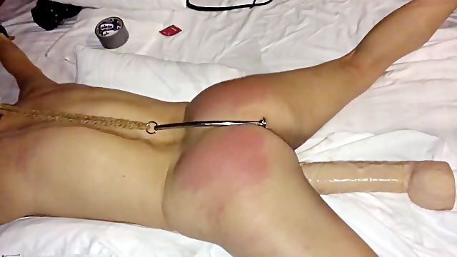 My slut fixed with anal hook and flogged