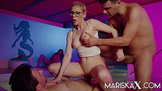 Hot blonde Tina stuffed by two big dicks