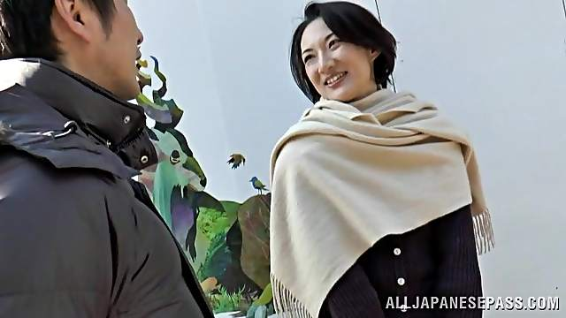 Natural boobs Japanese MILF spreads her legs to ride a fat dick