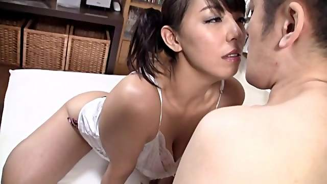 Natural boobs Japanese girl opens legs to be fucked in missionary