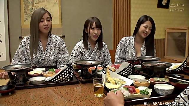 Group sex orgy with couple of hot Japanese girls who love cum