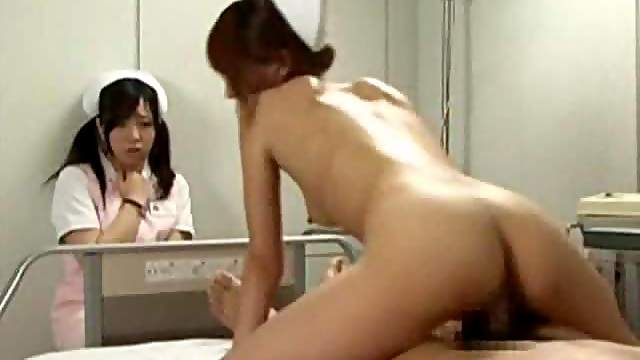 Japanese nurse gets on top of the cock
