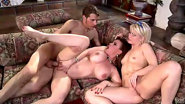 Babysitter and the couple have threesome sex