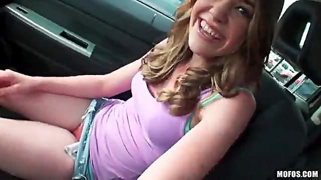 Super cutie masturbating in parked car