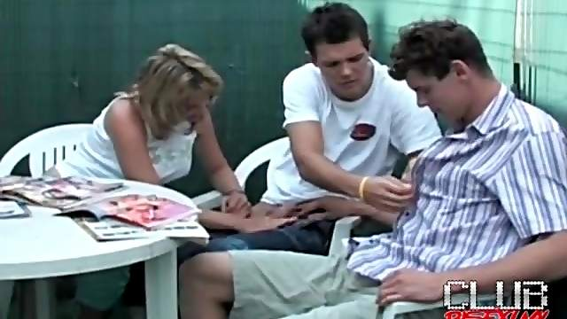 Girl blows a pair of bisexual guys outdoors