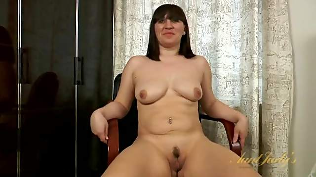 Curvy amateur milf strips during an interview