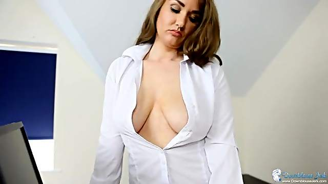 Cleavage and downblouse tease with a secretary