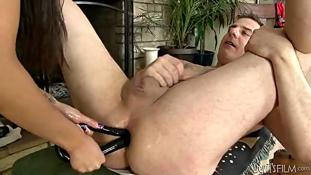 Chloe Amour fucks his mouth with her big strapon cock