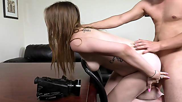 Saggy tits amateur takes it up the ass for her first porn