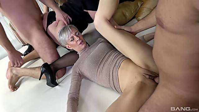 Sexual pleasures in group orgy for the thick ass matures