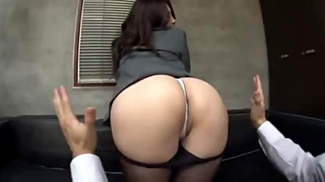 Amazing Japanese office girl gets fucked on a sofa