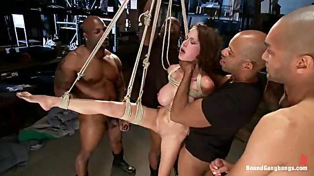 Cute girl gets her holes drilled and creampied in hot gangbang clip