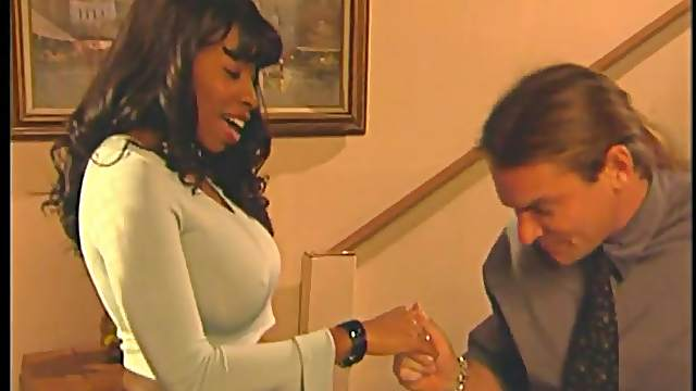 Mouthwatering Vanessa Blue Has Interracial Sex Over A Bed