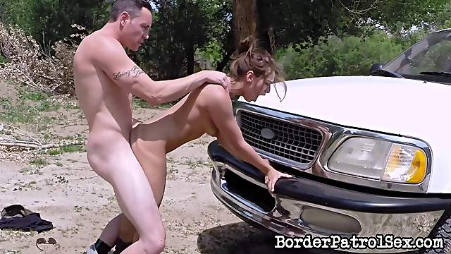 Throat fucking a Mexican stripper outdoors and making her gag