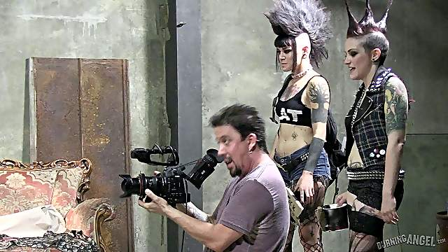 Meet tattooed pornstars assimilating rock stars with guitars backstage in a reality shoot