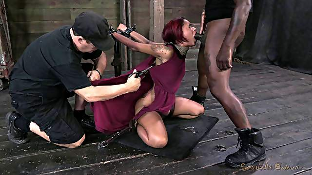 Redhead slave natural tits getting pegged in BDSM porn