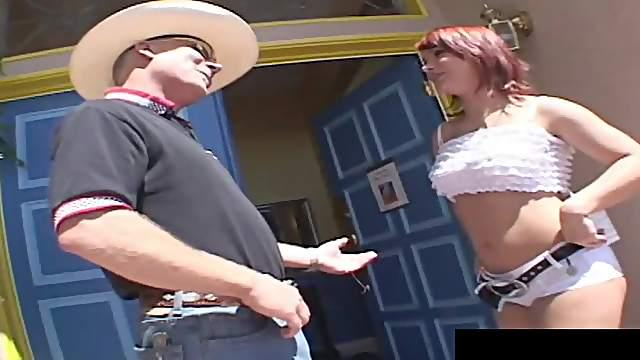 Cute redhead getting the gangbang experience and loads of sticky cum