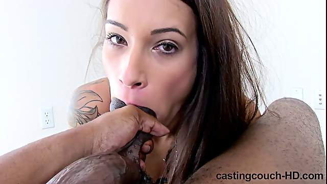 Natalia with long hair licking balls seductively in reality casting