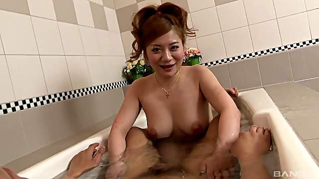 Cute Asian chick taking a bath before her boyfriend starts pleasuring her