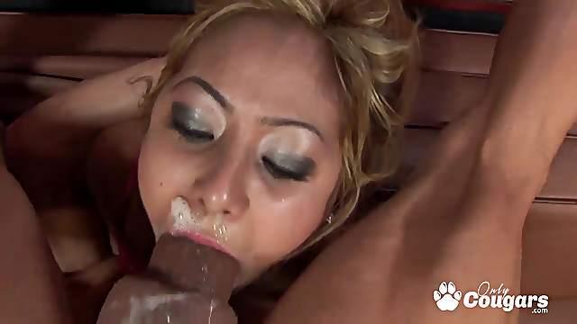 Cockcrazy asian Kat gets her face banged hard to gagging cumshot