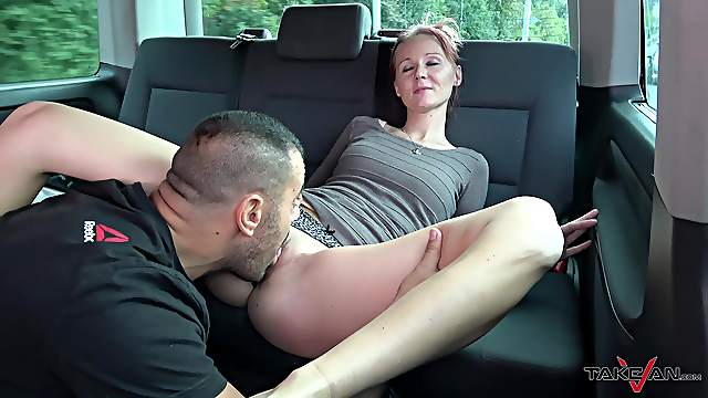 Brunette babe Marci sucks and fucks a fat cock in a car
