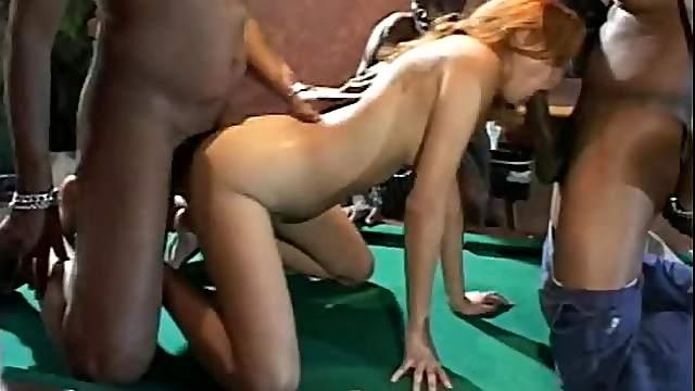 Horny Daisy Marie gets gangbanged after billiard game