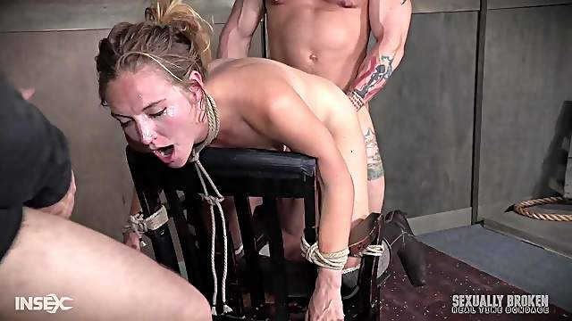 Blonde cutie Mona Wales abused with cock down her throat