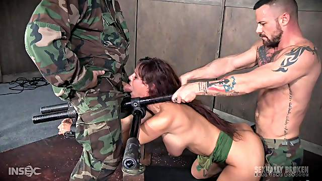 Mature slave brunette Syren De Mer fingers herself before torture