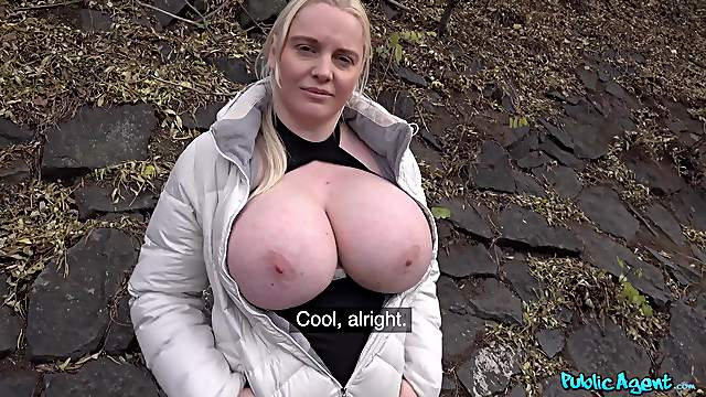 Massive natural tits Jordan Pryce drops on her knees to please him