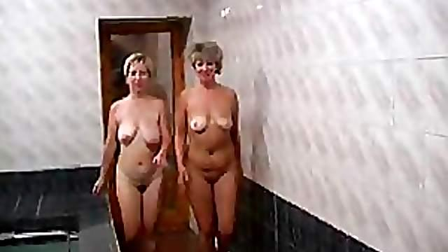 Russian Mature Lesbians Get Fucked and Creampied on a Sauna
