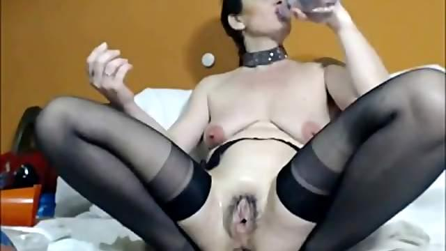 Anal fisting with huge toy and cum on face