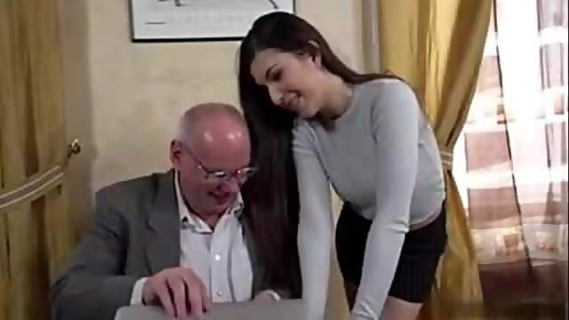 Cute brunette secretary fuck with old boss