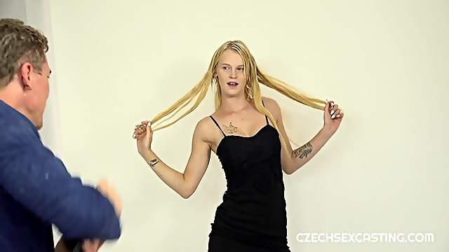 Novice blonde darling shows off in casting