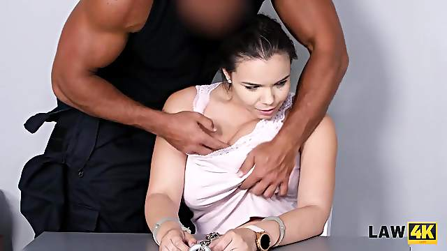 Brunette worships dick and gets nailed for all her crimes