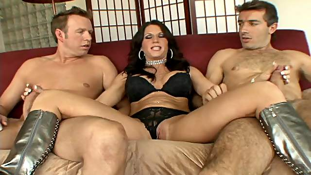 Glamorous milf gets her pussy fingered then pounded hardcore in a mmf threesome