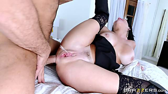 Incredible babe in leather fucked in her tight asshole