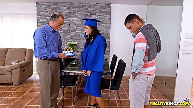 After graduation Keisha Grey grabs Tyler Steel's cock under the table
