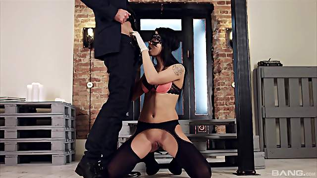 Erotic session with a hot brunette sex goddess with a mask