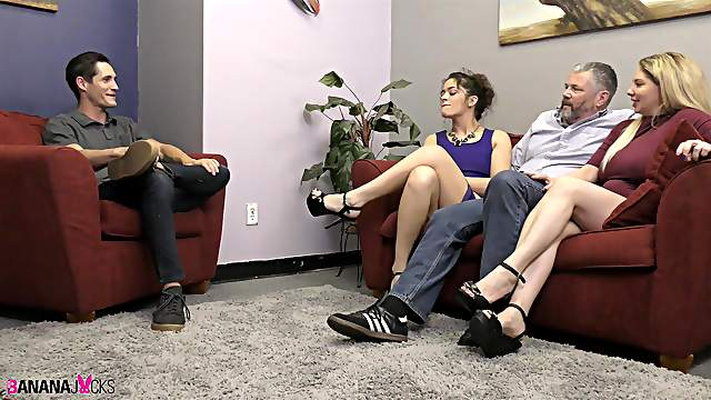 Old and a young guy fuck Victoria Voxxx and Kiki Daire. HD