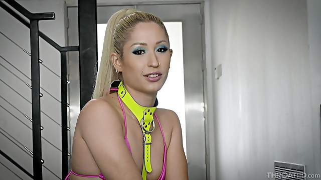 Horny slut Goldie Glock sucks and gets rough throat fucked