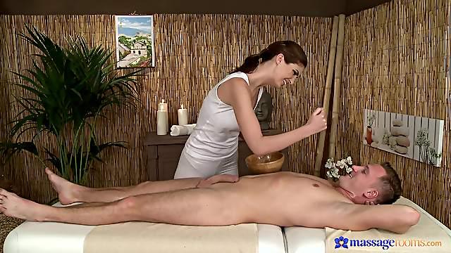 Gentle pleasures on the massage table with seductive Charlotta