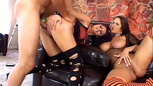 Two Goth Girls In Fishnets Love To Share One Dick