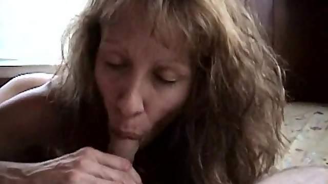 POV of hardcore blowjob, licking cumshot by amateur couple