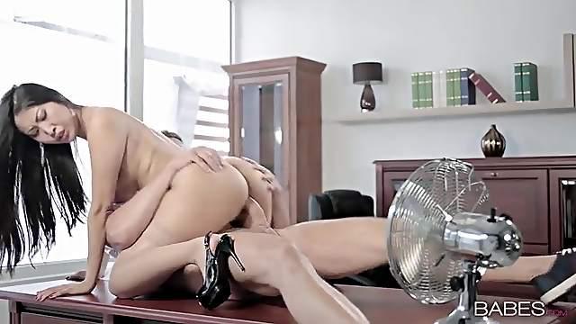 Hot secretary bent over a desk and fucked hard